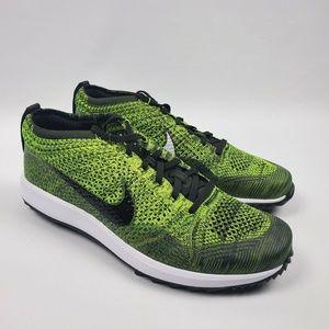 Nike Mens Flyknit Racer G Golf Shoe Volt Sequoia